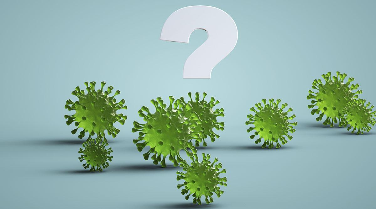 A question mark with coronavirus molecules