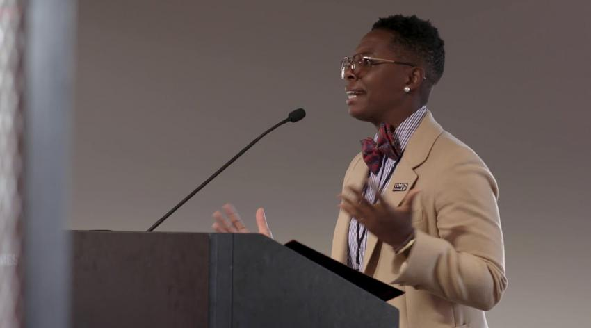 Kali Cyrus, MD, speaks on intersectionality in gender equity movements at the Time's Up Convening on Pay Equity in September 2019