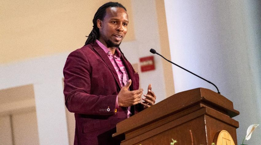 Ibram X. Kendi speaks at the University of Vermont for the Martin Luther King Jr. Celebration, Education and Learning Series on Jan. 28.