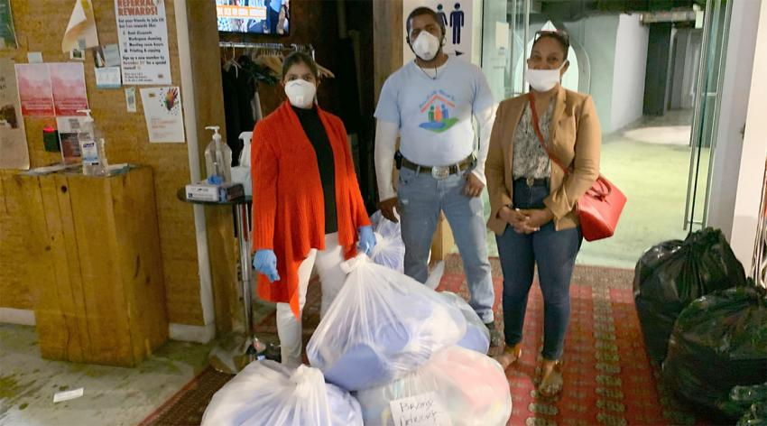 Volunteers with the Rise of Broken Women shelter in New York City receive 6,000 masks donated by Love Your Melon, a socially conscious business based in St. Paul, Minnesota. The donation was coordinated by Get Us PPE.