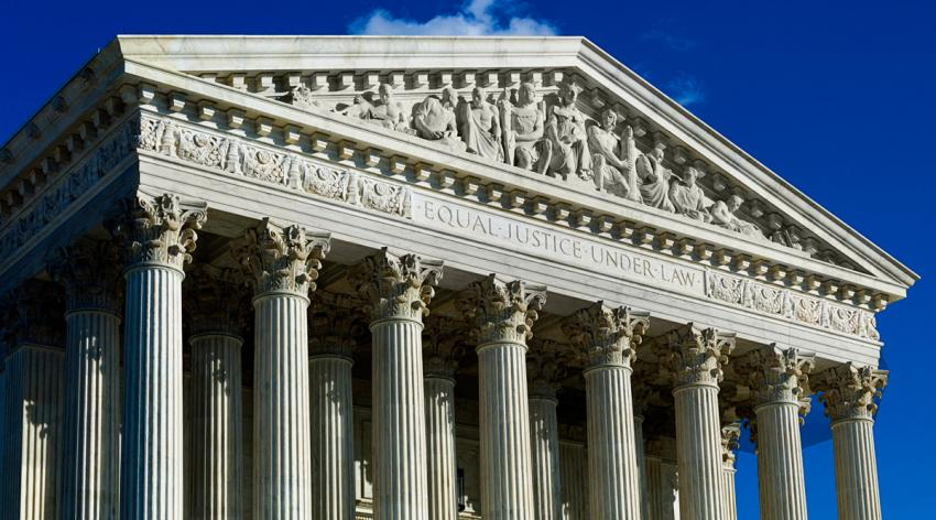 Supreme Court building facade in Washington, DC