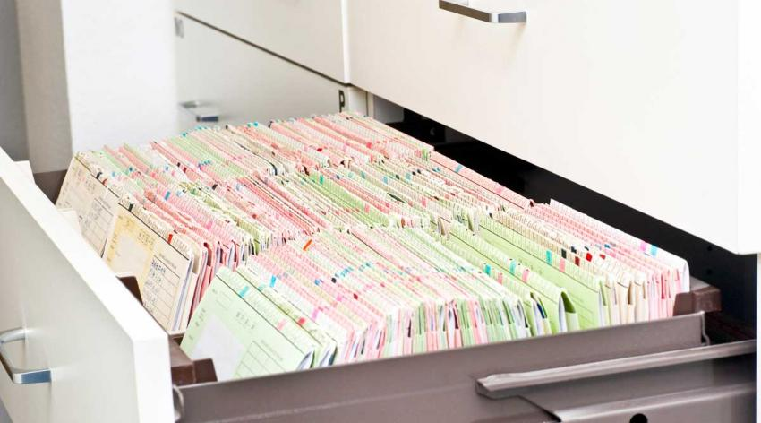 An open drawer full of file folders