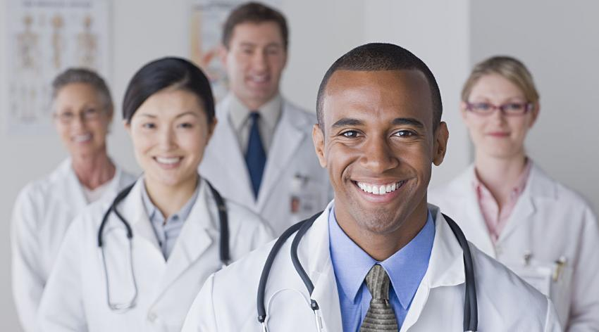 Group of diverse physicians