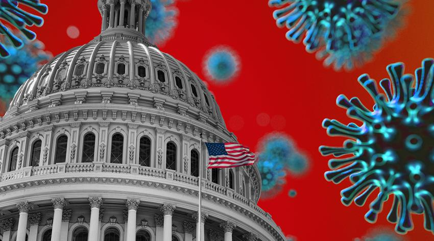 The Capitol building surrounded by coronavirus