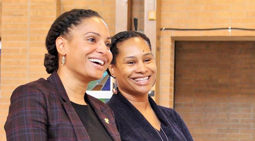 The author and her sister Denise Fair, MPH, MBA, chief public health officer at the Detroit Health Department, attend services at their church, which has been hit hard by COVID-19