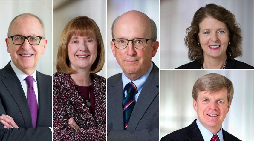 Headshots of David Skorton, Janis Orlowski, Ross McKinney, Alison Whelan, and John Prescott