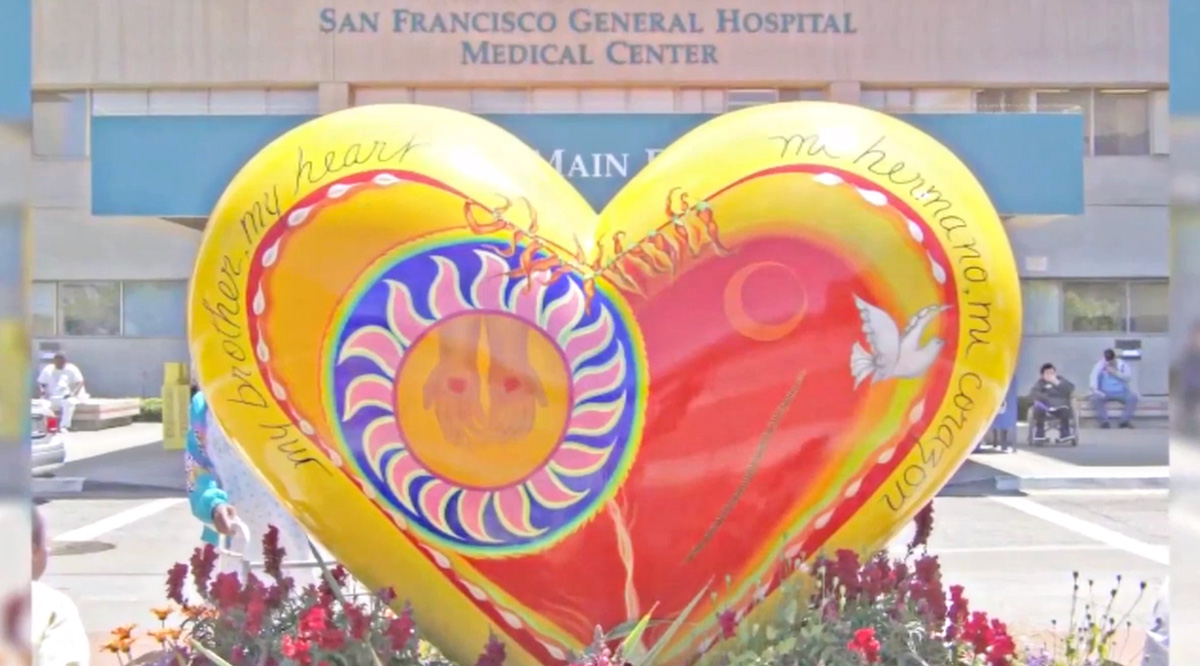 Heart sculpture in front of San Francisco General Hospital Medical Center