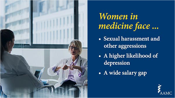 Women in medicine face sexual harassment and other aggressions, a higher likelihood of depression, and a wide salary gap.
